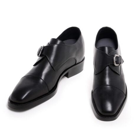 blackl leather signle monk dress shoes 4