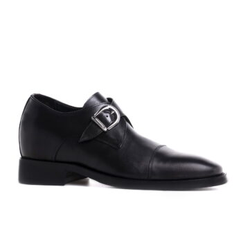 blackl leather signle monk dress shoes 5