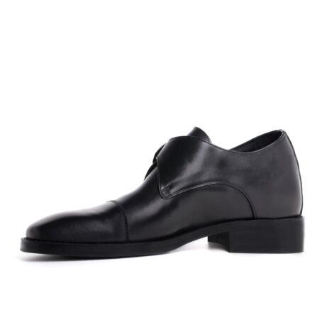 blackl leather signle monk dress shoes 3