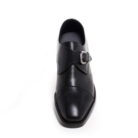blackl leather signle monk dress shoes 2