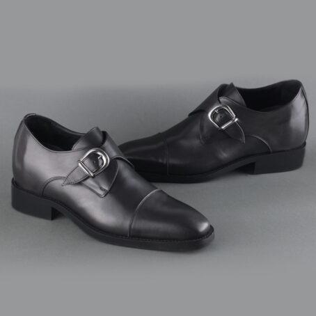 blackl leather signle monk dress shoes