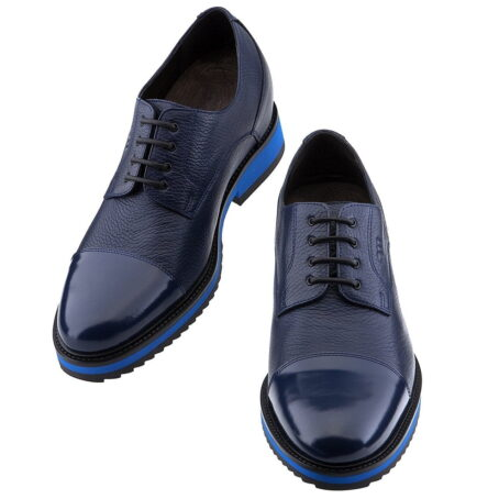 blue textured oxford shoes 4 - Guidomaggi Switzerland
