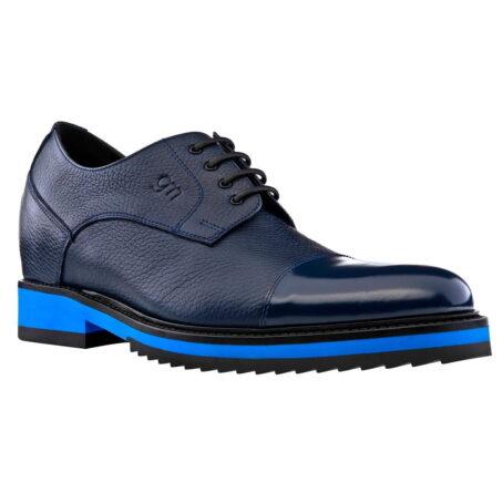 Chaussures de ville en cuir pleine fleur grainé et peau de veau bleue 1