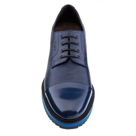 blue textured oxford shoes 2 - Guidomaggi Switzerland