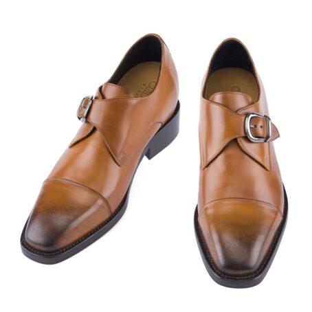 cognac single monk dress shoes 4