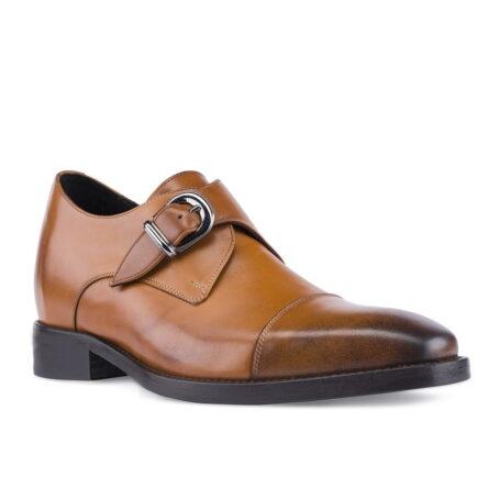 Cognac Single Monk Schuhe mit Absatz Handgefertigte aus Italien 1