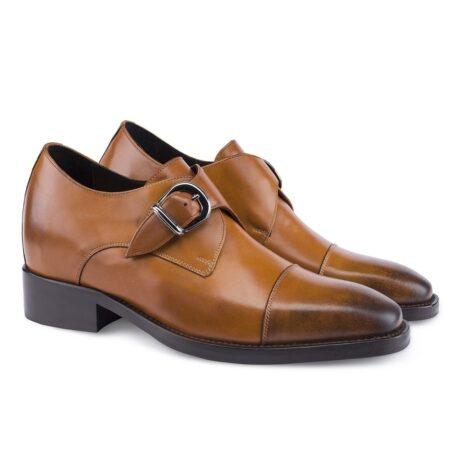cognac single monk dress shoes
