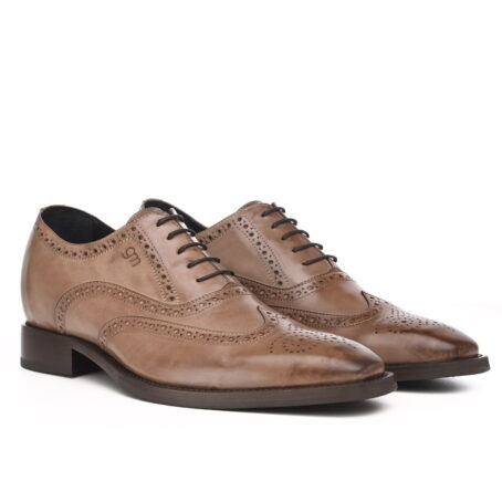 medium brown brogue classic dress shoes