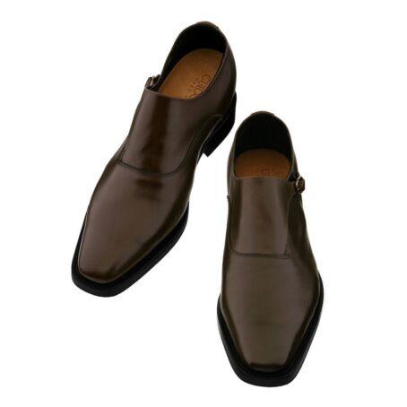 dark brown single monk dress shoes 4
