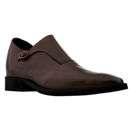 scarpe uomo mono fibbia in pelle marrone