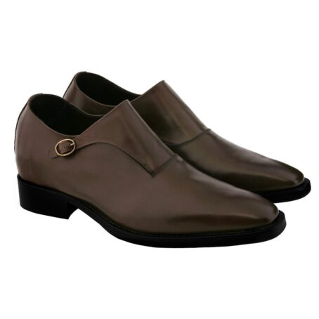 dark brown single monk dress shoes