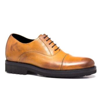scarpa rialzante uomo color cognac vintage