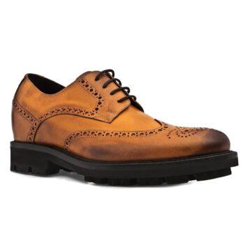 Chaussures de ville en cognac bruni cuir pleine fleur 1