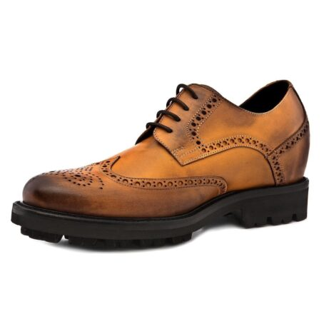 burnished light brown brogue dress shoes