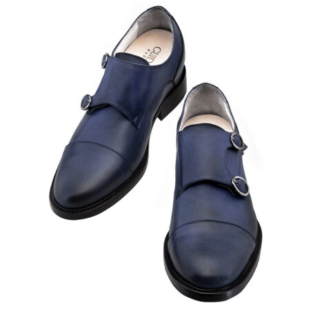 blue navy patina double monk shoes 4