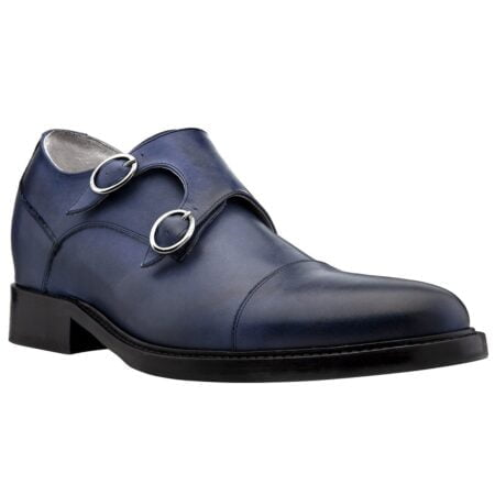 blue navy patina double monk shoes 5