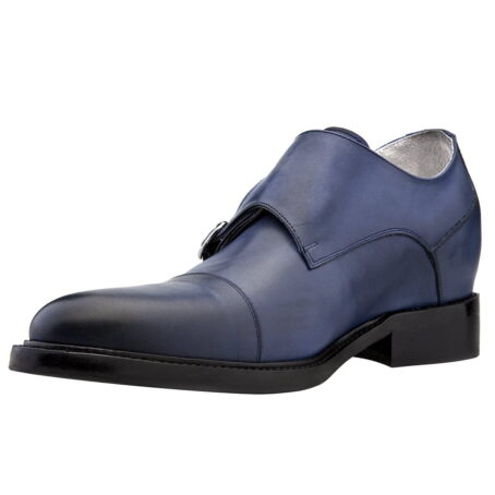 blue navy patina double monk shoes 3