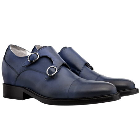 blue navy patina double monk shoes
