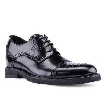 Scarpe eleganti da uomo in pelle di vitello lucida nera e lacci di cotone cerati
