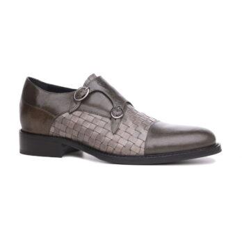 Chaussures de ville en cuir de veau vieilli gris et peint à la main 1