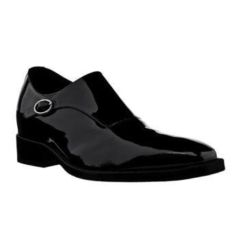 Elegantes schwarzes monsk Schuh