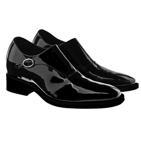 shiny black monk dress shoes