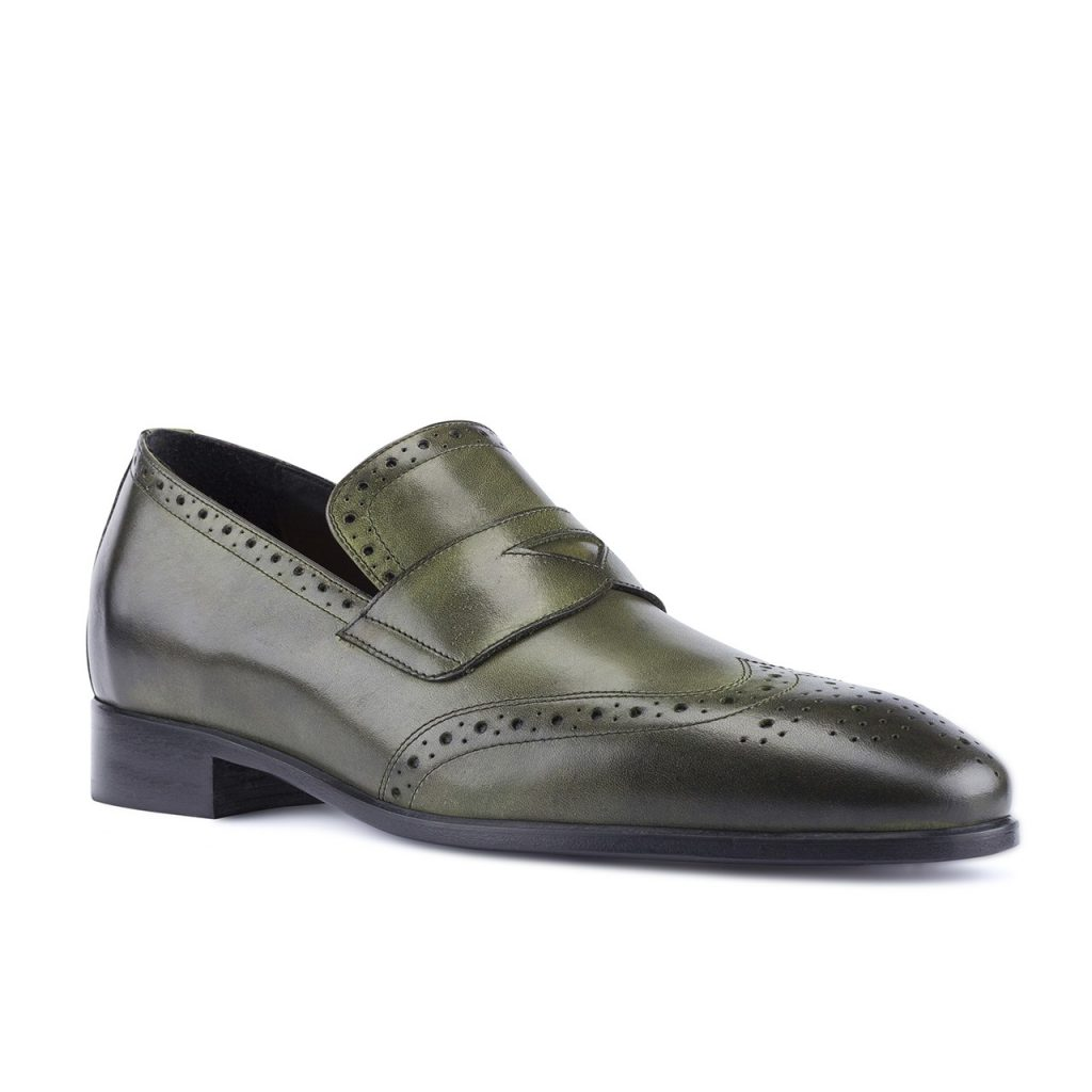 brogue olive green fullstrap loafers 5