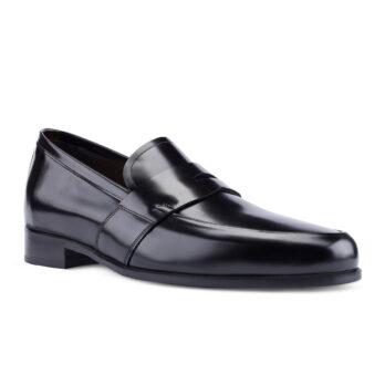 Klassisch elegante schwarze Vollgurt-Mokassin 1