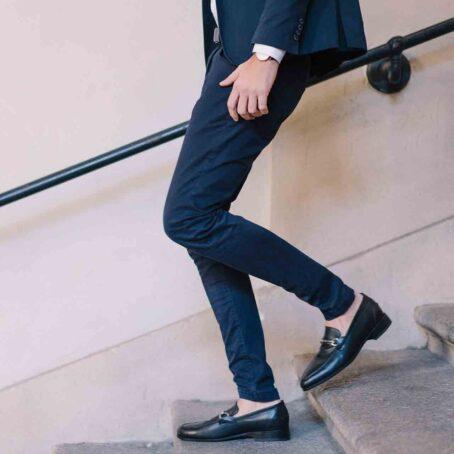 man wearing elegant tassel loafers