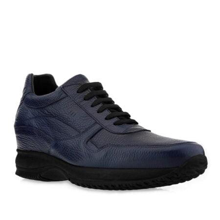 Blau strukturierte elegante Sneakers Herren Schuhe aus echtem Leder 1