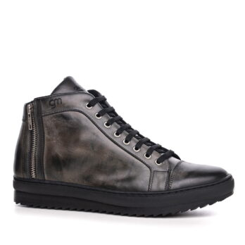 Sneakers nere in pelle con rialzo