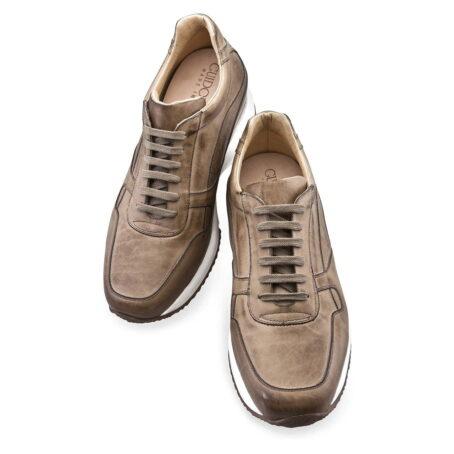 sneakers donna rialzanti in pelle pieno fiore marrone chiaro brunito