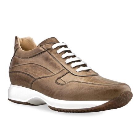 sneakers rialzanti in pelle pieno fiore marrone chiaro brunito