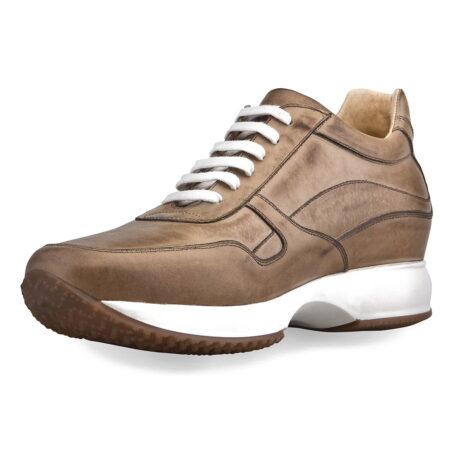 sneakers donna in pelle marrone chiaro brunito