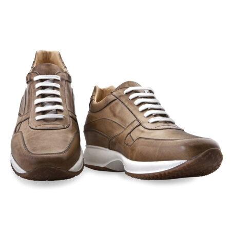 sneakers formali donna in pelle marrone effetto brunito