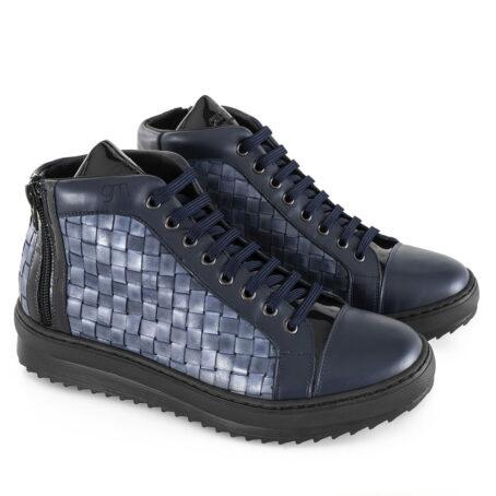 sneakers uomo rialzanti in pelle pieno fiore blu, vernice blue scura e pellame intrecciato