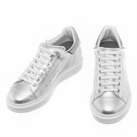 sneakers donna in pelle argentata