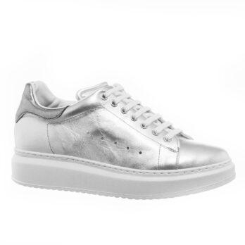 Silberne Leder-Sneakers mit Absatz Handgefertigte aus Italien 1
