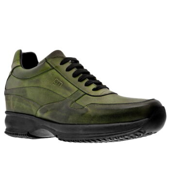 Glänzende olivgrüne Sneakers Erhöhte mit Absatz GuidoMaggi Schweiz 1