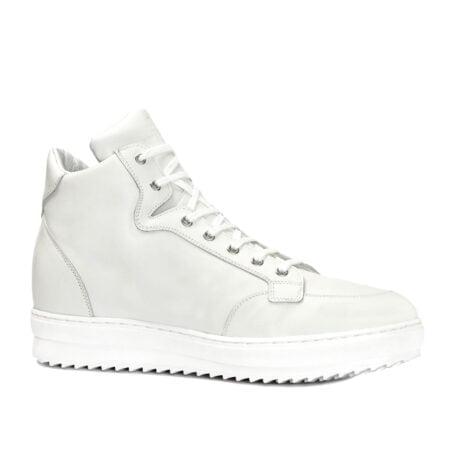 sneaker bianche stile basket in pelle bianca