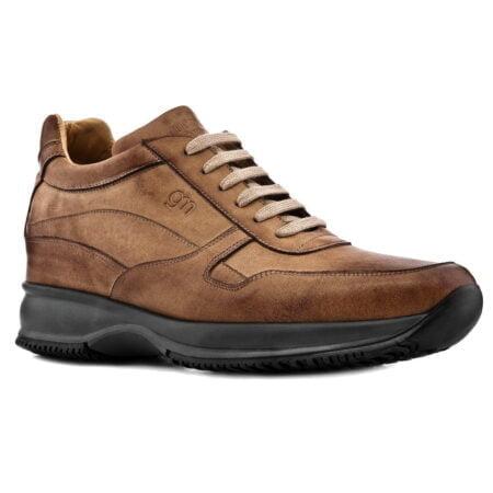 sneakers formale rialzante da uomo in pelle brunita