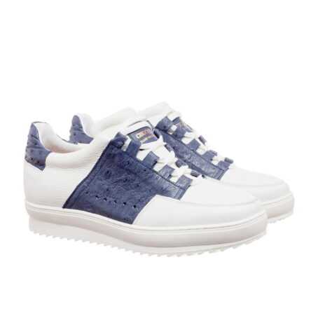 white and blue navy sneakers