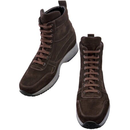 brown suede leather high cut sneakers 4