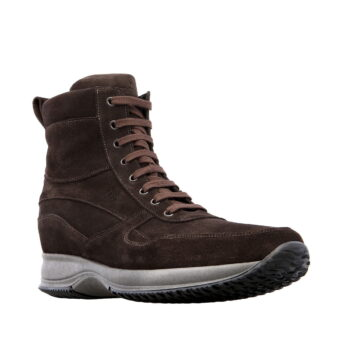 brown suede leather high cut sneakers 5