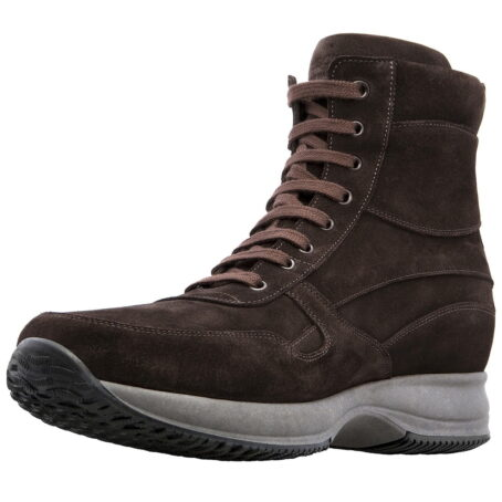 brown suede leather high cut sneakers 3