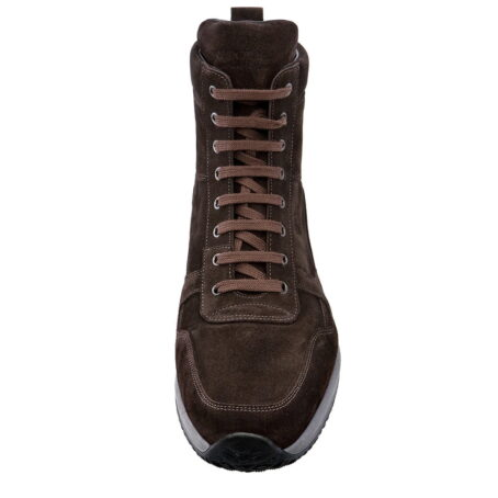 brown suede leather high cut sneakers 2