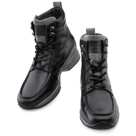 black leather high cut sneakers 4