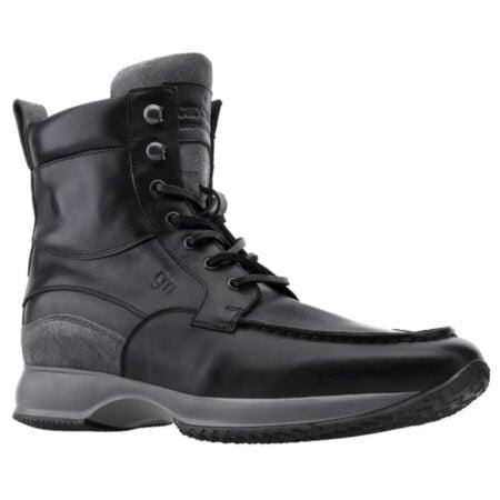Sneakers uomo modello stivaletto in vera pelle nera
