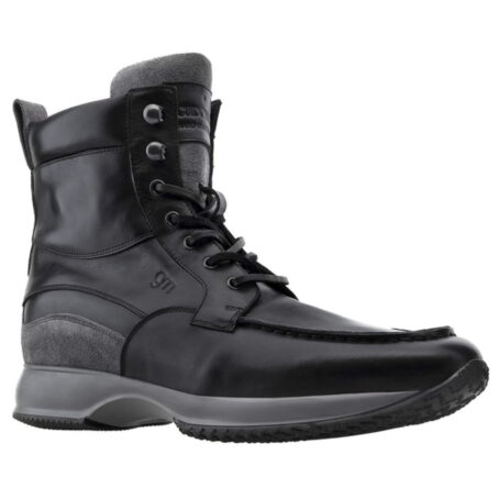 black leather high cut sneakers 5
