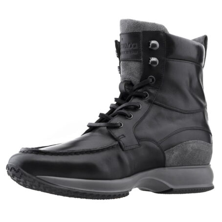black leather high cut sneakers 3